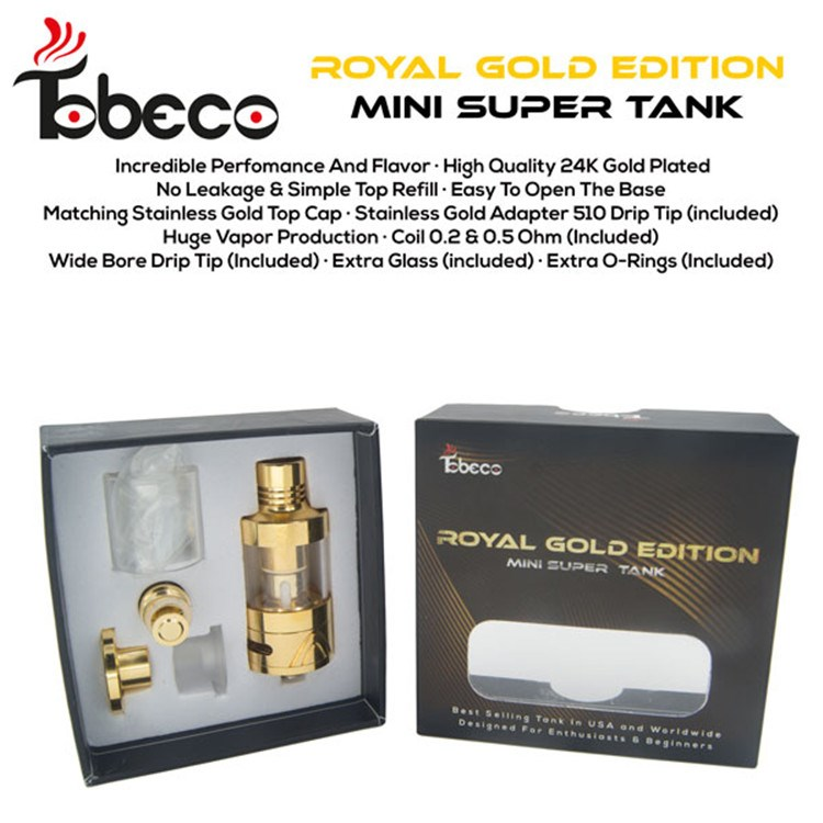 2016 hot selling Tobeco super tank mini royal gold edision