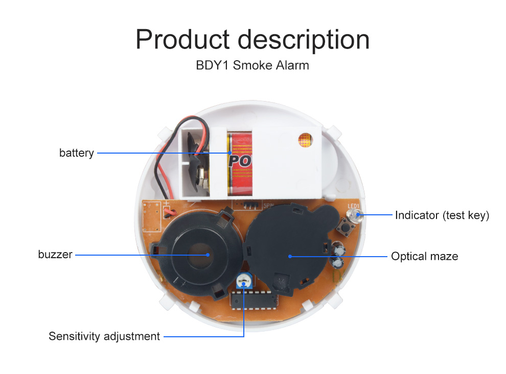 Cheap BDY1 Stand-alone Photoelectric 9V Battery Operated Smoke Alarm