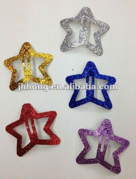 glitter mini metal star snap clips for kids
