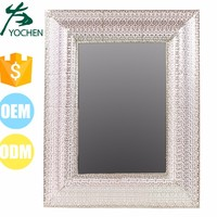Vintage Classic Square Electroting Plated Silver Filigree Large Wall Mirror Frames for Wholesale