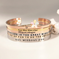 Women Men Custom Stackable Engraved Bracelet Inspirational Metal Engrave Bangle Stainless Steel Engravable Message Cuff