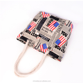 2018 New style fashion leisure canvas beach bag Lady cotton rope beach tote bag with a flag pattern