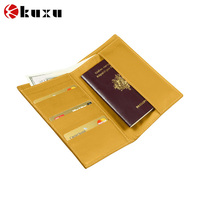 Genuine Yellow travel banknotes and credit cards leather wallet/purse manufacturer
