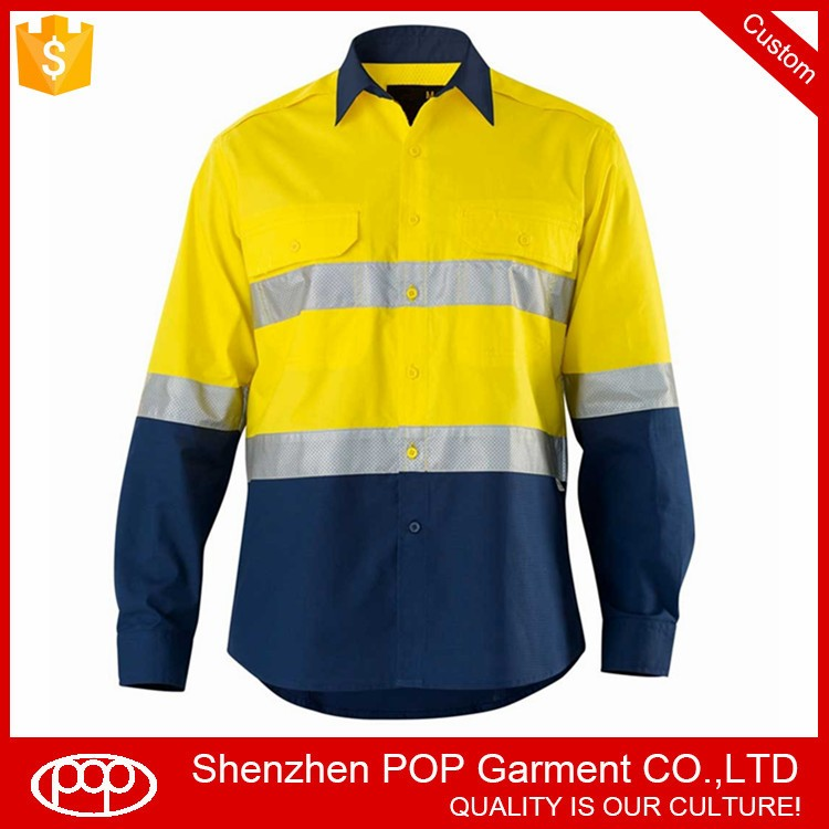 Long sleeve Hi Vis security 3M reflective tapes men's work shirt