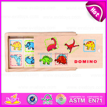 2015 Kids Game Wooden Animal Professional Domino,DIY wooden animal domino for children,Dinasour design wooden domino toy W15A025