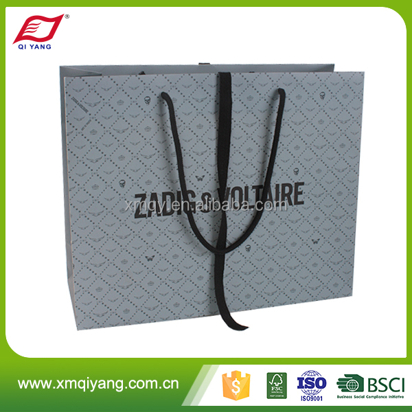 Famous brand customized printing luxury wholesale fashion shopping paper bag