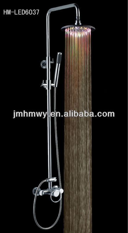 Fashion hydropowered shower set with sliding bar,water temperatures detectable shower head
