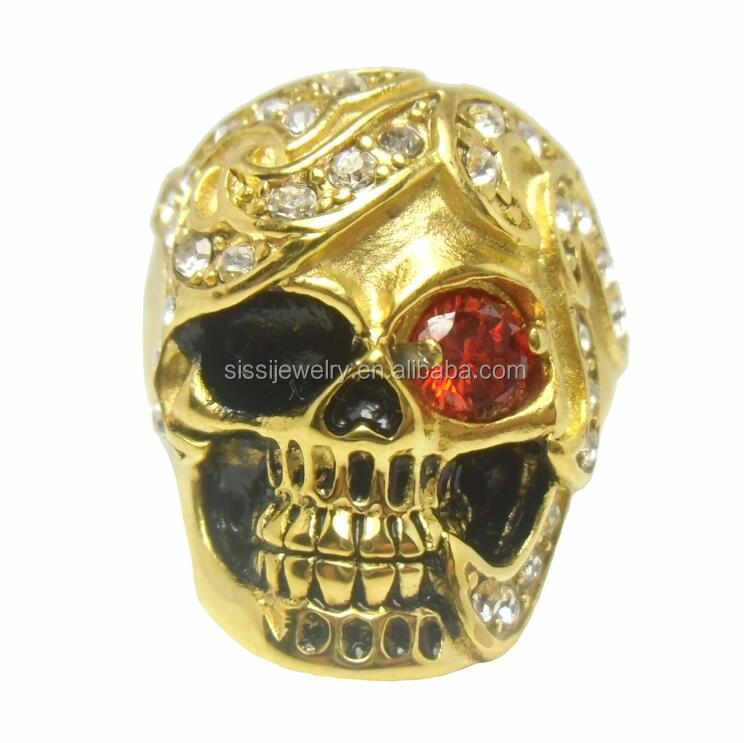 Gold Plated Stainless Steel Masonic Skull Ring for Men