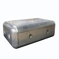 Vintage Coffee Table Aviator Aluminum Trunk Drawer Home Office Furniture