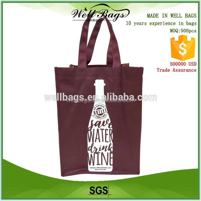 china promotional cheap christmas wine tote bag for gift and shopping
