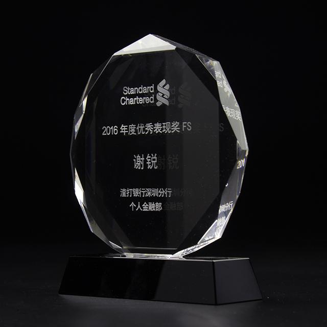 Shield blank crystal plaque iceberg shape glass award trophy for custom design