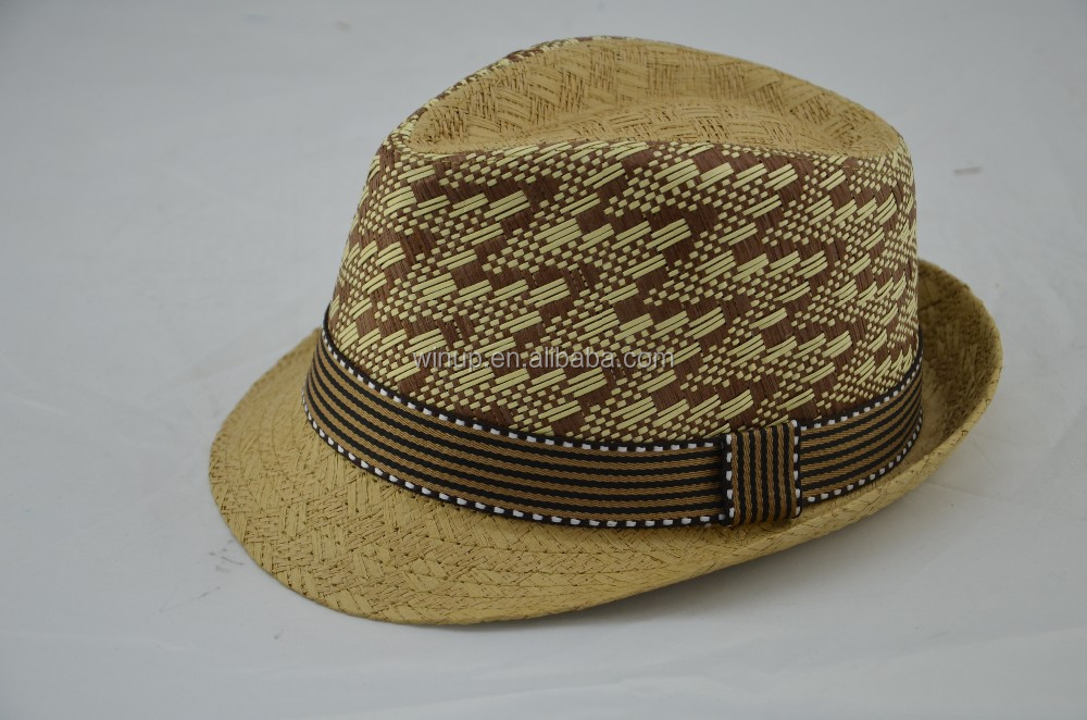 Custom men's straw paper hats jewish hat pith helmet