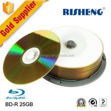 RISHENG blank BD-R 25GB 6X speed gold Inkjet Printable/wholesale blank Spindle Blu-ray Recordable Media Disc