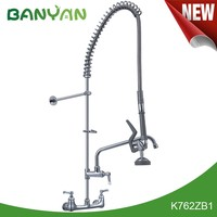 Deck Mount Commercial Kitchen Faucet With Double Handle