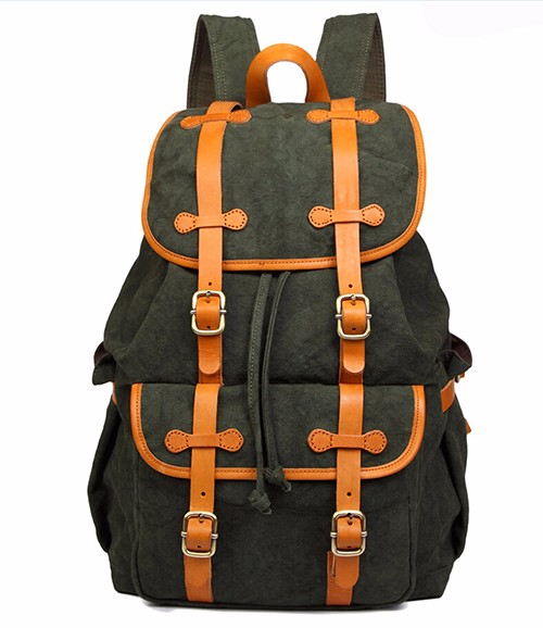 Wholesale Vintage bandhnu canvas backpack with vegetable tanned leather trim, Leisure retro laptop canvas backpack for Men