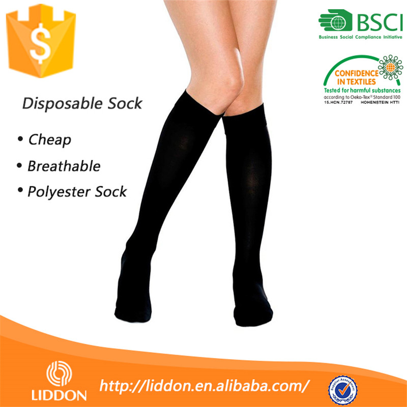 Wholesale Wellness Guangzhou White Long Cover Sock,100% Polyester Flight Try On Bowling Hospital Disposable Sock