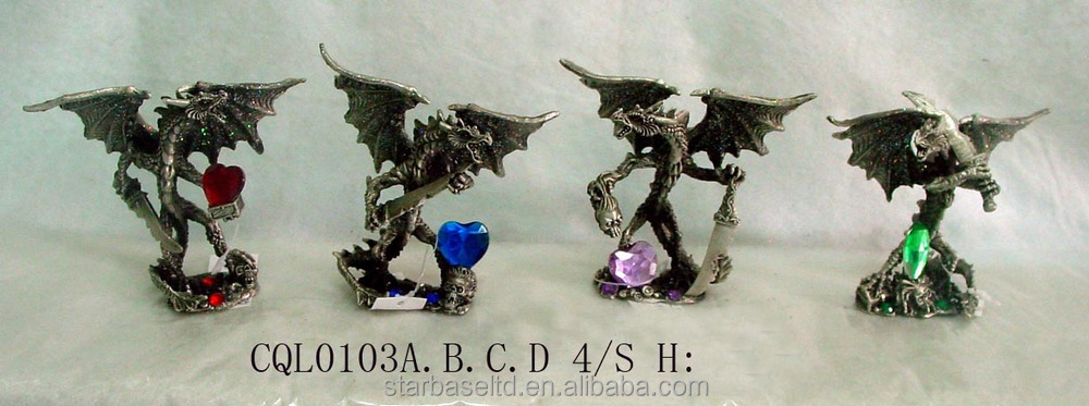 Custom pewter nice home decoration dragon figurine unique crafts to make and sell