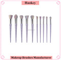 2017 New 10PCS Light Purple Color Handle Multicolor Hair Private Label Unicorn Make Up Brush Set