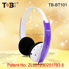Wireless on-ear foam earmuff bluetooth stereo headphones / headsets with V4.1 CSR bluetooth rechargeable lithium battery