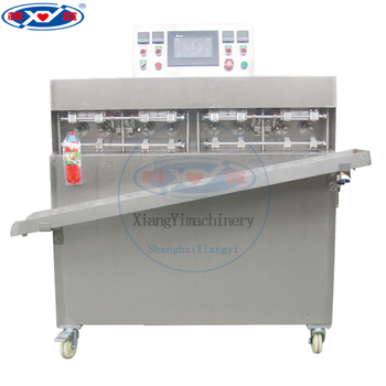 Small water filling and sealing machine for bottle shape bags.