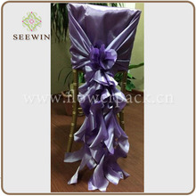 2015 wedding fancy purple satin chair hood cover with draping curls/ruffles, satin chiavari chair hood sash