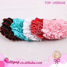 Wholesale boutique toddler 100% cotton baby bloomers solid color kids ruffle cotton baby bloomers