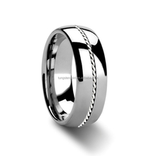 hotsell custom stainless steel rings with braided inlay cool mens irish rings