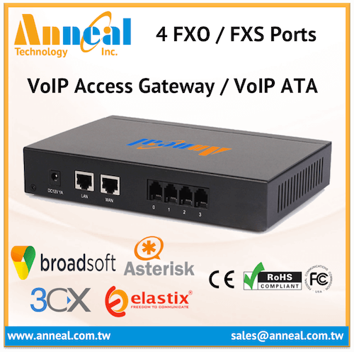 Elastix Certified Asterisk Compatible 4 FXS Port VoIP ATA Gateway