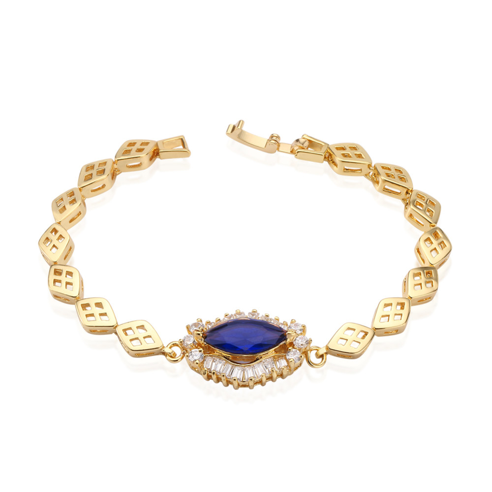 Womens Solitaire sapphire blue zirconia cz diamond 18K gold plated tennis Bracelet bangle for wedding gift