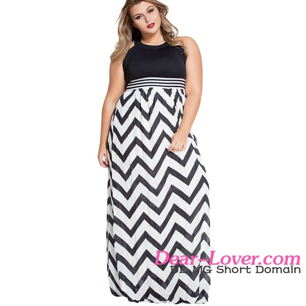 Halter Neck Zigzag Floor Length women evening and holiday plus size dress