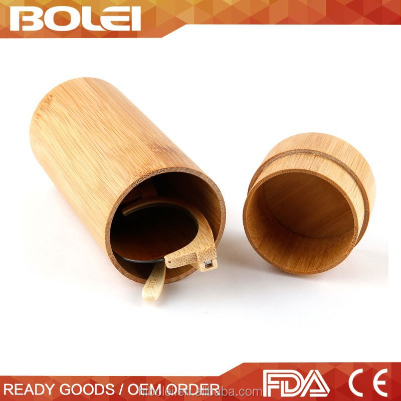Quality Natural round Bamboo wooden sunglass case