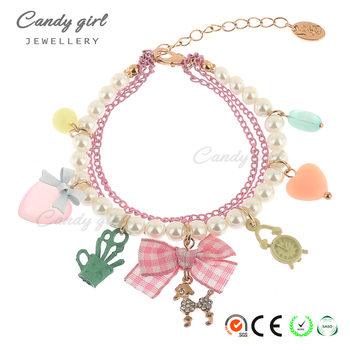 Candygirl brand hand knitted jewelry bracelet with bead Lovely women accessories pendant bead wrap bangle bracelet