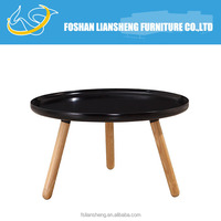 Nordic round black coffee table with solid wood legs CW3078#