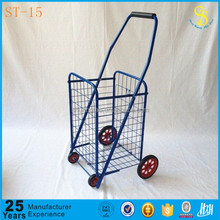 Iron wire shopping carts, powder coated shopping trolley, foldable shopping cart