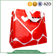Two colors printed pp woven handle bag
