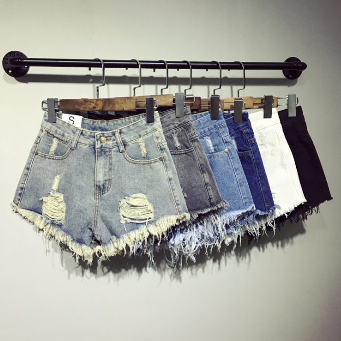 Sincere Ripped Hole Fringe Denim Shorts Women Casual Pocket Jeans Shorts 2019 Summer Female Wide Leg Hot Shorts Button Attractive Designs; Jeans Bottoms