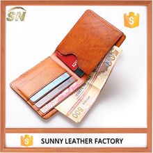Vegetable Tanned Leather Brown Bi-fold ID card Holder Wallet