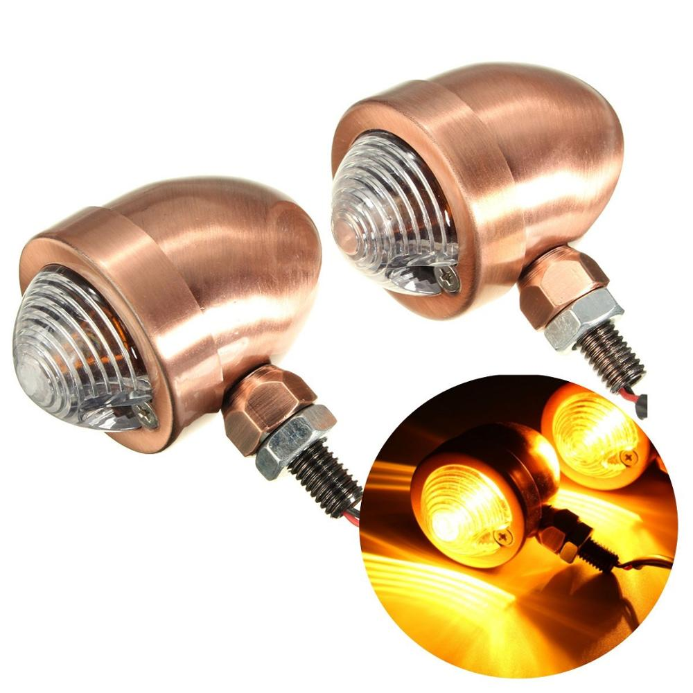 New 2 Universal Bullet Motorcycles Turn Signal Indicator Amber Lights Lamp For Harley/Honda /Yamaha /Suzuki /Kawasaki