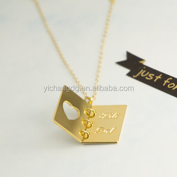 Custom Engravable Gold Necklace, Book Necklace, Custom Name Necklace,