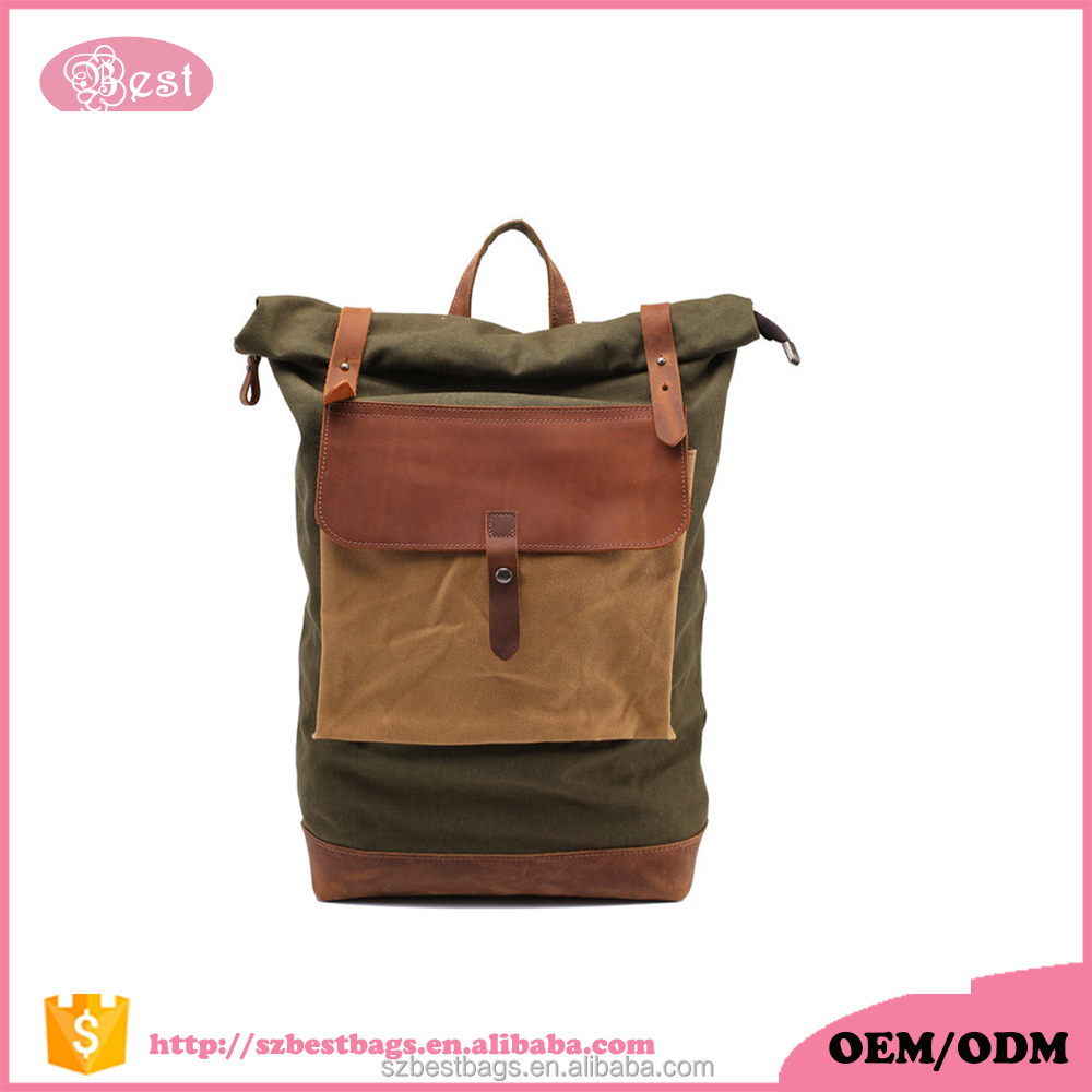 Retro Series Top Rolling Waterroof Design Canvas Laptop Backpack