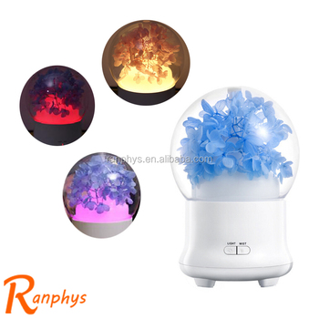 Ranphys immortal flower colorful creative crystal ball aroma mist spray Christmas gift humidifier with led light