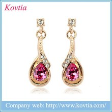 Noble 18k gold jewelry made in thailand products modern design earring with drop Austria crystal
