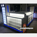 White mobile phone display showcase glass store mobile phone kiosk design for sale