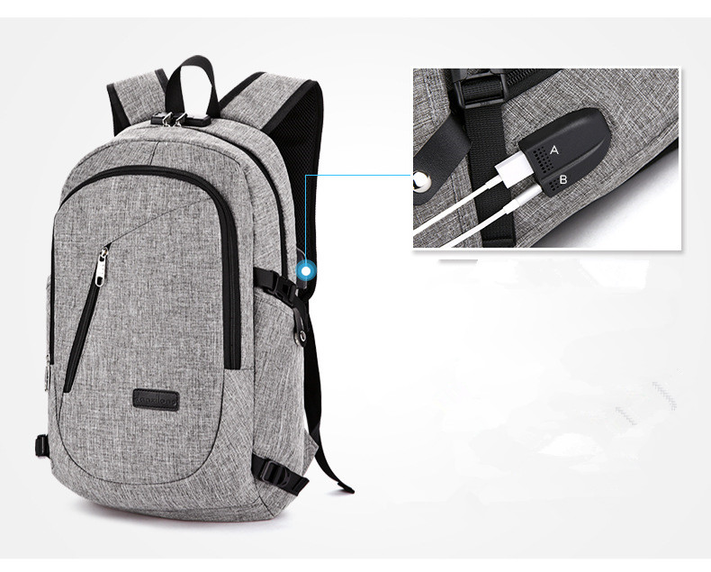 2017 good quality laptop backpack with lock and USB port charger