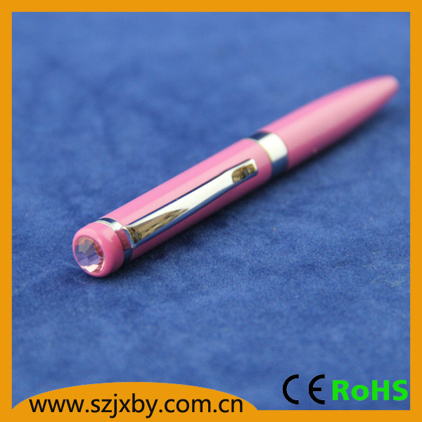 Shibell promotion cute Pink metal ball pen with crystal top