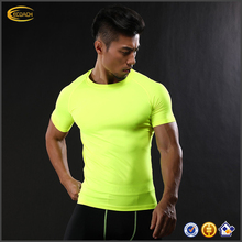 Ecoach new arrival super comfort short sleeve quick dry running sports men tight fitness t shirt wholesale fitness clothing