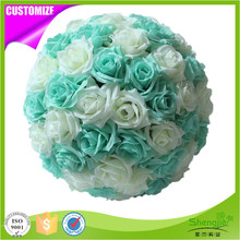 Fashionable hanging decorative artificial rose silk flower ball centerpieces for wedding