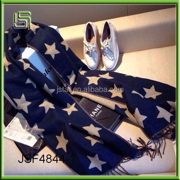 New autumn and winter ladies scarf double - sided stars tassel wool scarf
