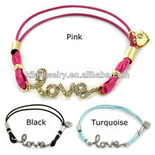 the newest high quality crystal love Colorful bungee Cord Bracelet