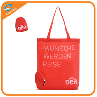 Customized promotional foldable shopping bag, der folding bag with zipper, foldable tote bag with zipper pouch